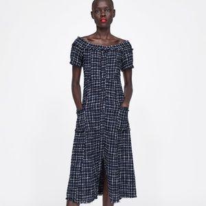 NWT Zara tweed dress with gemstone buttons